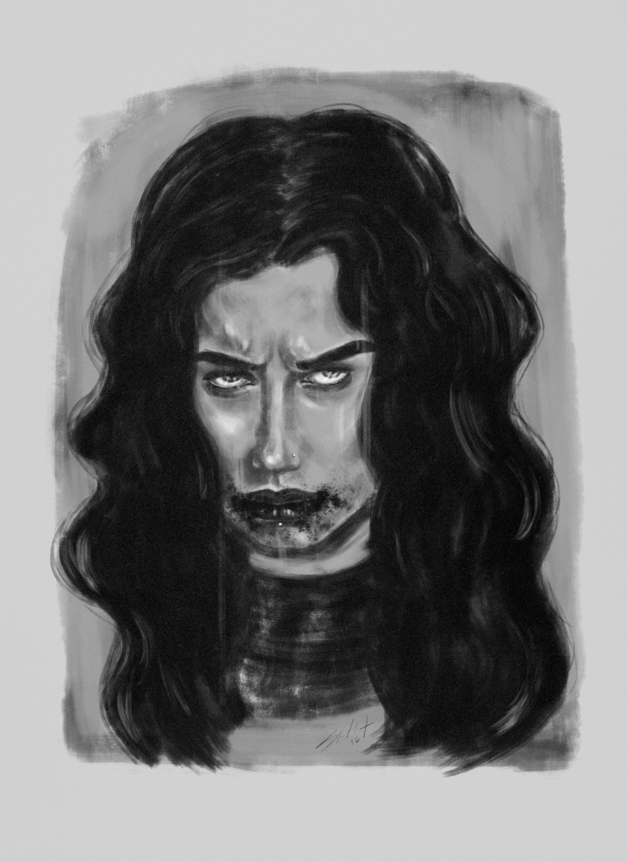 Just a Bite  #art #arte #bite #vampire #blackandwhite #woman #women #portrait #blood #painting #pintura