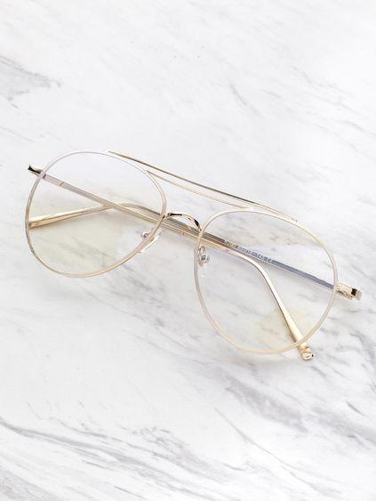 9aa6966d69 Gafas estilo aviador con lentes transparentes | casual | Lentes de ...