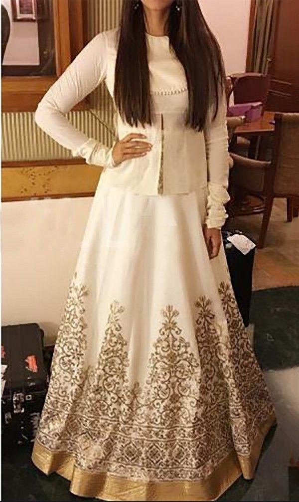 6910ec8e2c1 Poly Silk Machine Work White Bollywood Designer Lehenga - 534 at Rs 2199