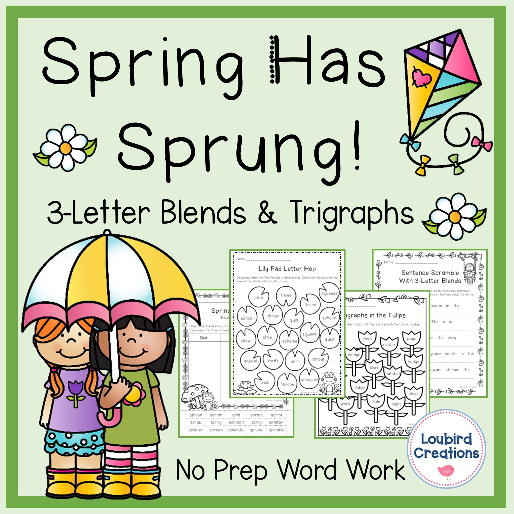 Spring Trigraph 3 Letter Blends Word Work No Prep In