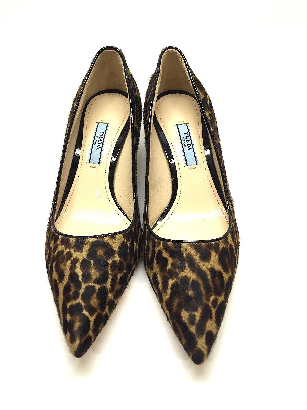 Prada Brown Tan Animal Print Calf Hair Pointed Toe Kitten Heel Pumps Shoes Size 6 5 Kitten Heel Pumps Kitten Heels Pump Shoes