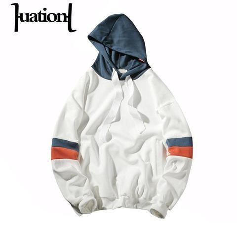 ce2a97b77fb Huation 2018 Spring Tracksuit Men Hooded Hoodies Mens off White Slim  Pullover Long Sleeve Hoodie Casual Patchwork Sweatshirts