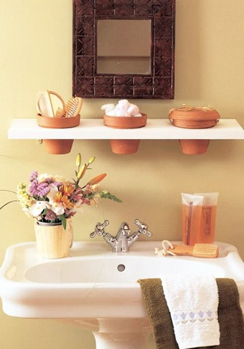 The Clay Pots That Are Normally Used For Plants Also A Great Bathroom Storage