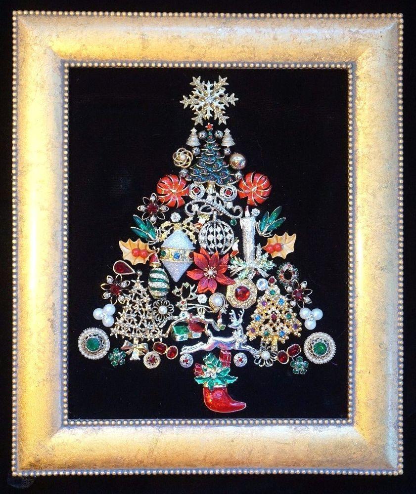 Vintage Jewelry Art Framed Christmas Tree Bouquet Original By Clara