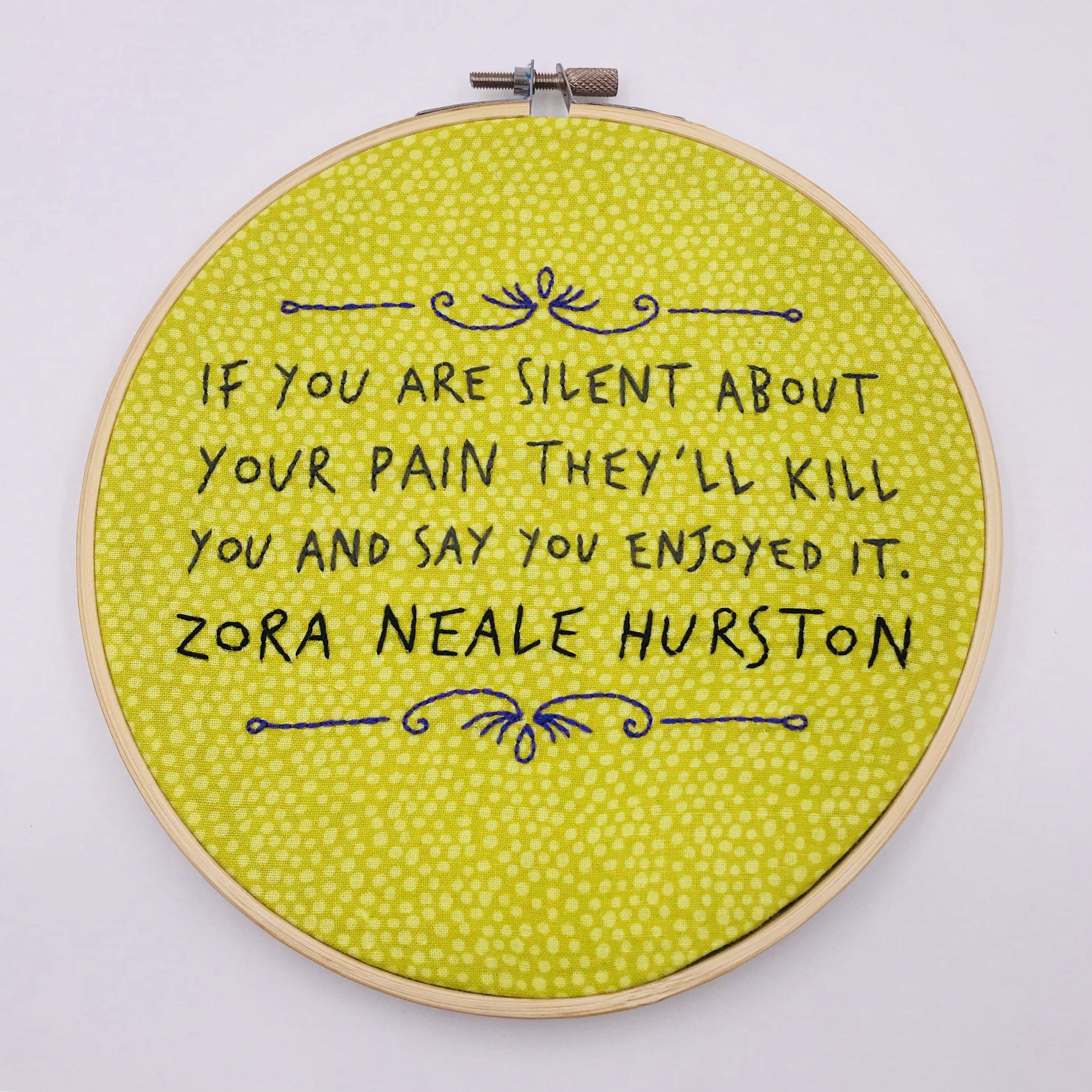 7 inch Zora Neale Hurston Quote hand sewn embroidery hoop wall ...