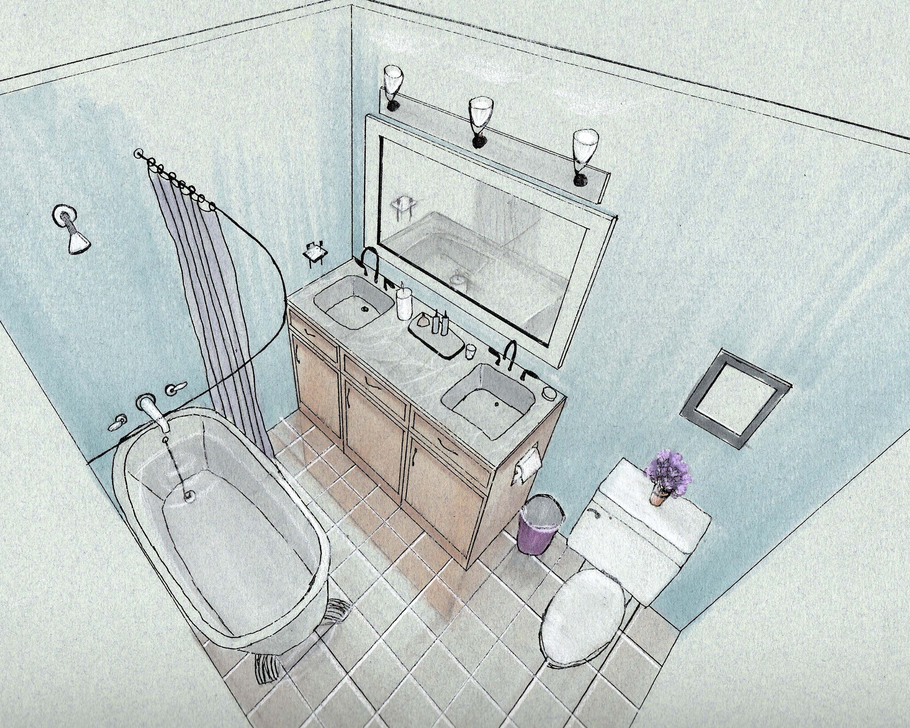 Bathroom drawing design - Bathroom Hand Rendering Hand Drawings Renderings
