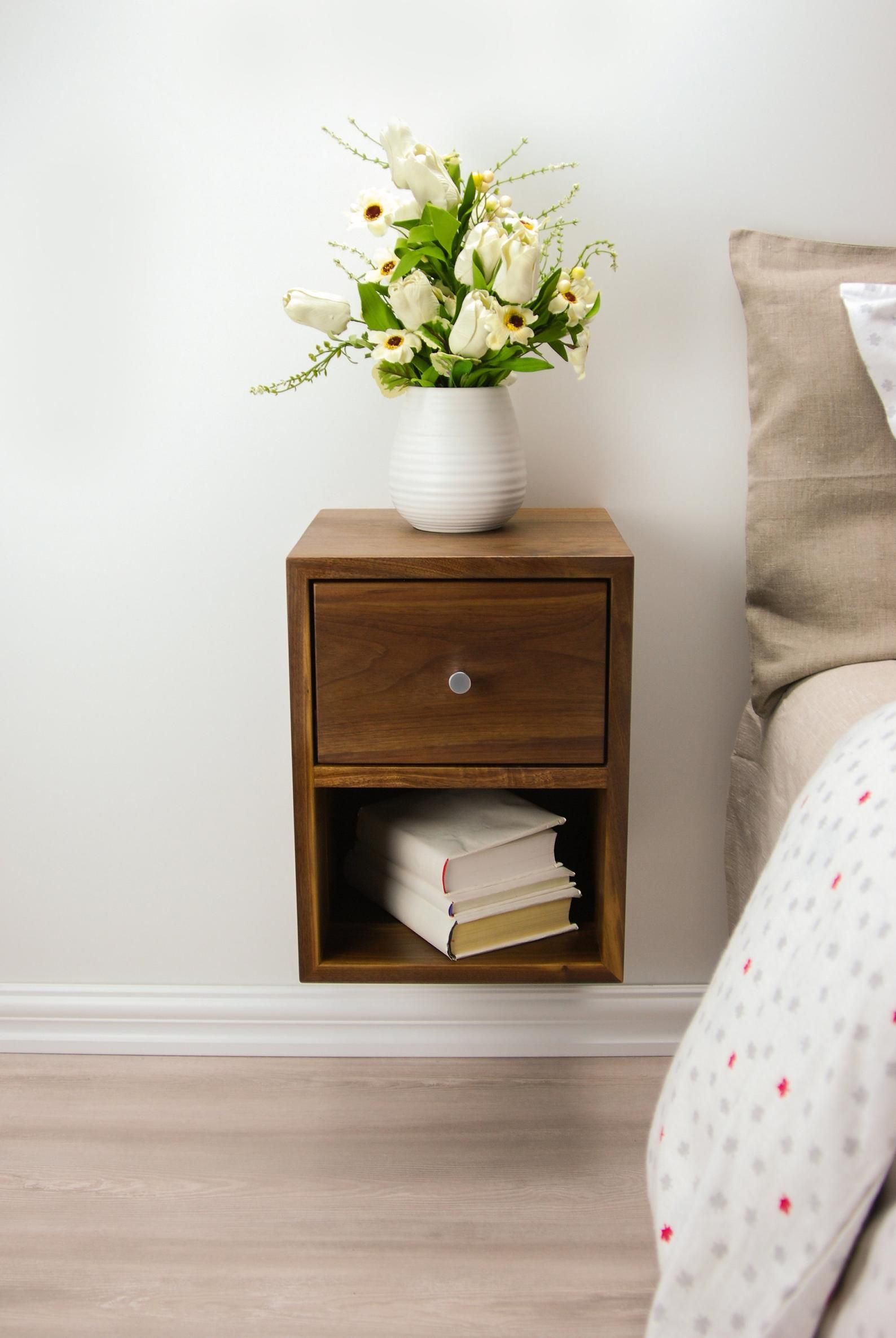 Compact Floating Nightstand With Drawer And Open Shelf Walnut Wood