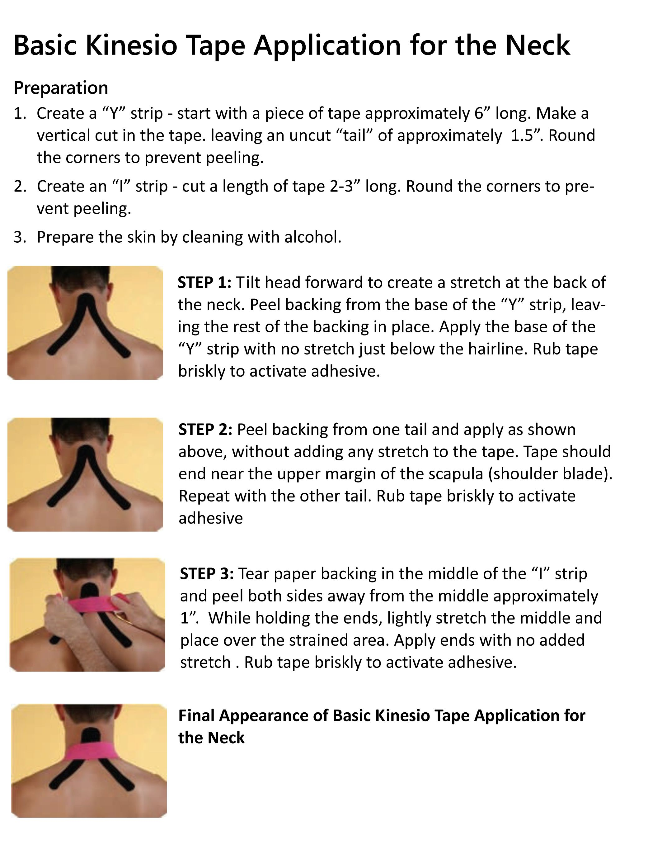Simple Kinesiology Taping Instructions For Neck Kinesiology Tape