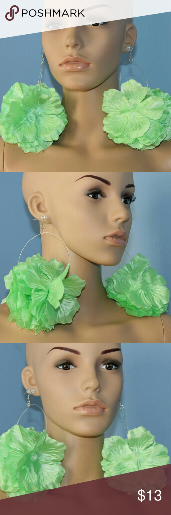 Piercing nose at home  Lime green flower hoop earrings pierced or clip NWT  Green flowers
