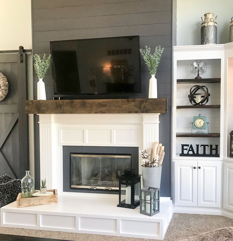 Fireplace Makeover from Contemporary to Modern Farmhouse ...