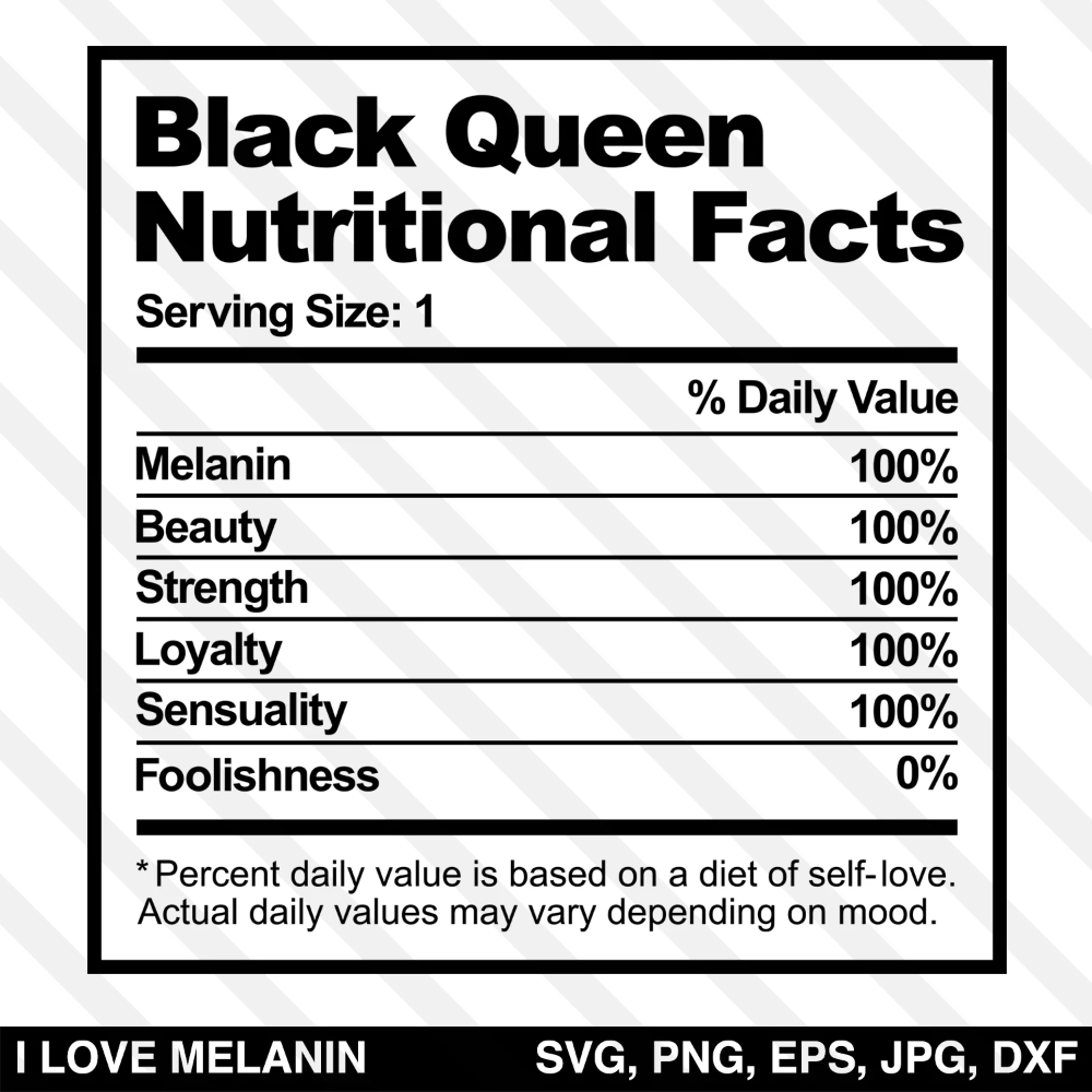 Black Queen Nutritional Facts Svg Nutrition Facts Nutrition Labels Nutrition