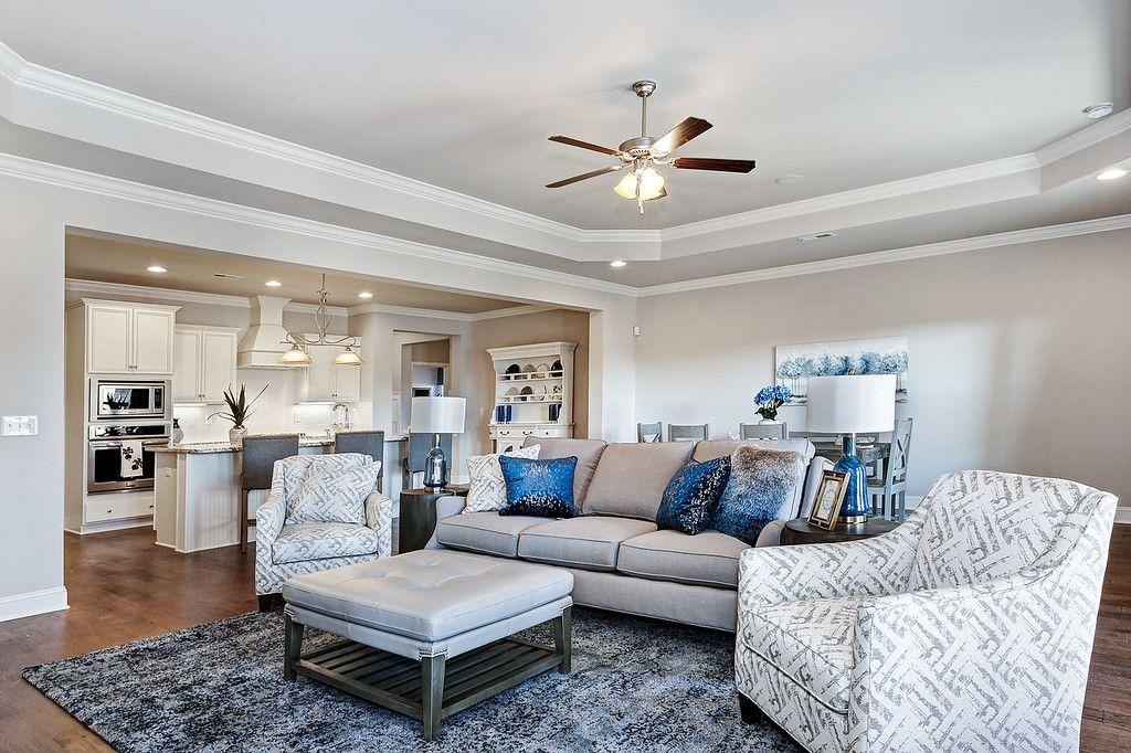 Open Floorplan Living Room And Kitchen Hilltop Ridge Model Home In  Huntsville, Alabama Interior Design