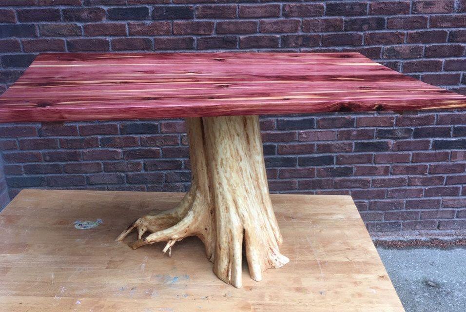 Eastern red cedar stump table rustic coffee table live