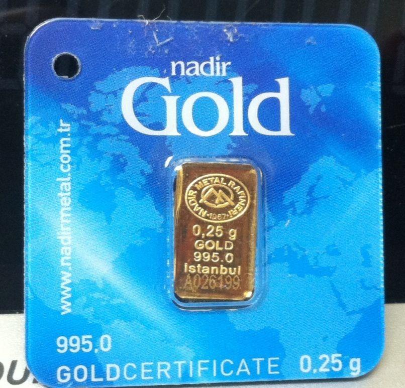 1 Each 1 4 Or 25 Gram 995 24 Kt Nadir Gold Bar In Goldcertificate Assay Igr Gold Gold Bar Branded Mints