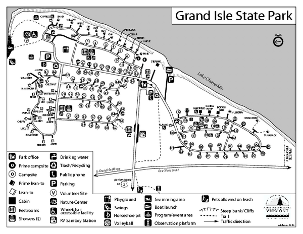 Grand Isle State Park Campground Map State Parks Grand Isle Campground
