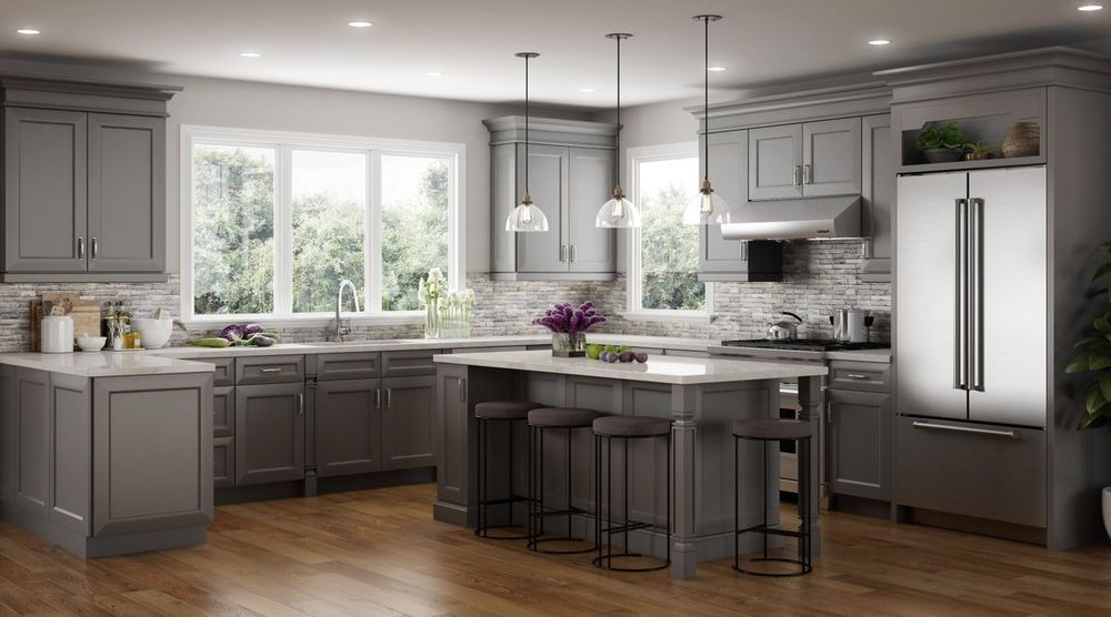 All Wood Rta 10x10 Transitional Kitchen Cabinets In Richmond Stone Light Gray Ebay Classic Kitchen Cabinets Contemporary Kitchen Cabinets Classic Kitchens
