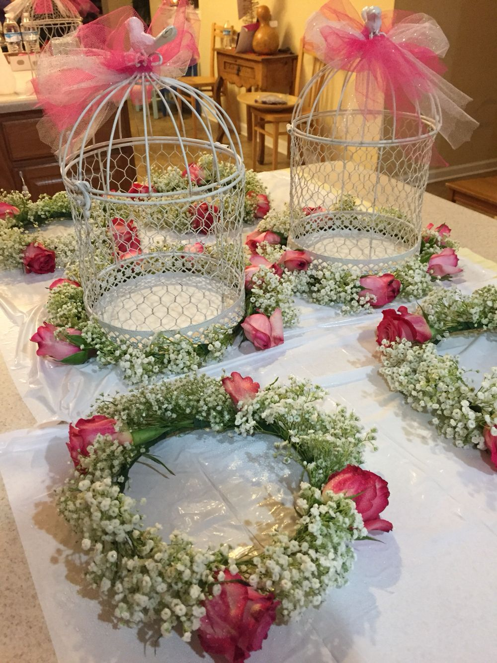 Baby's breath crown and birdcages
