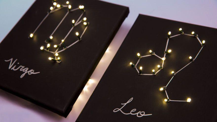 Create Your Own Diy Light Up Zodiac Sign Constellation Wall Art Diy Wall Decor Constellation Craft