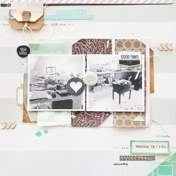 #papercraft #scrapbook #layout  by Janna Werner: color scheme mint, white, grey - scrapbooking layout