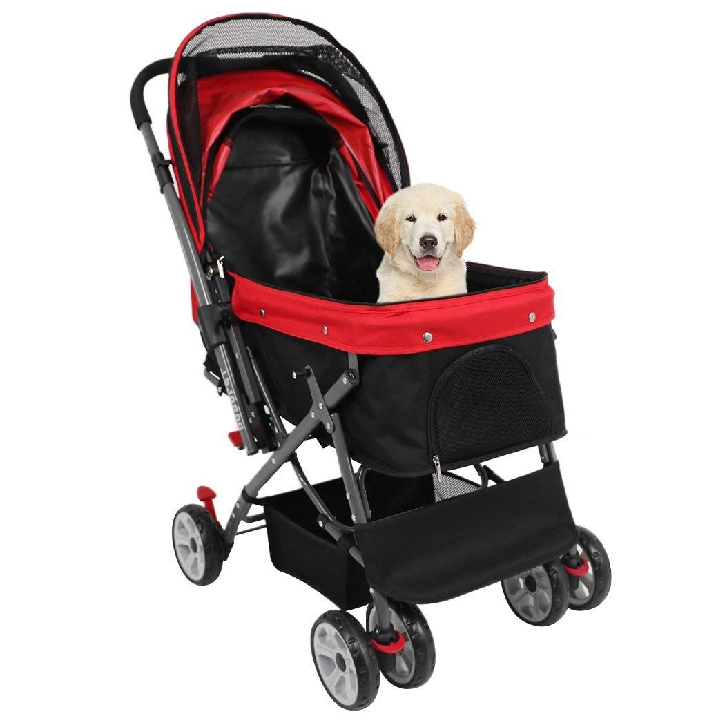 Triple Pet Stroller Petacc Pet Stroller Foldable Dog Travel Carrier Stroller