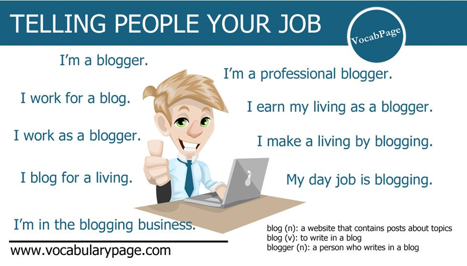 Telling people your job #vocabpage  www.vocabularypage.com
