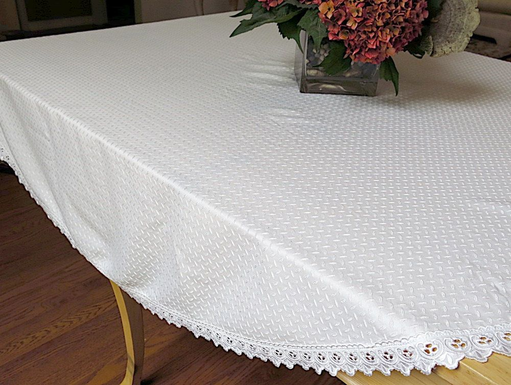 Vintage Round Tablecloth White Embroidered Overall Design.