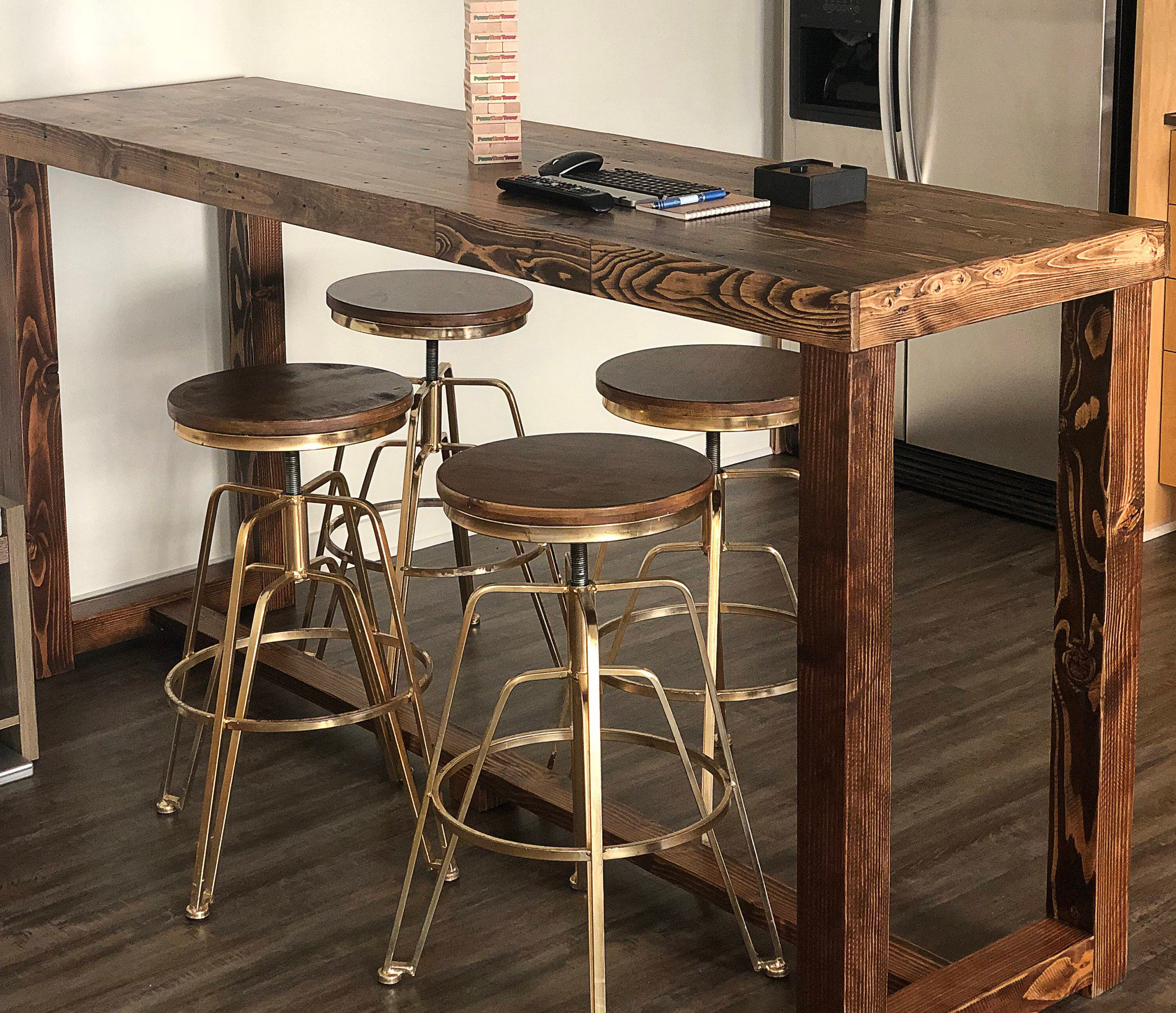 Reclaimed Wood Bar Table In Provincial Restaurant Counter