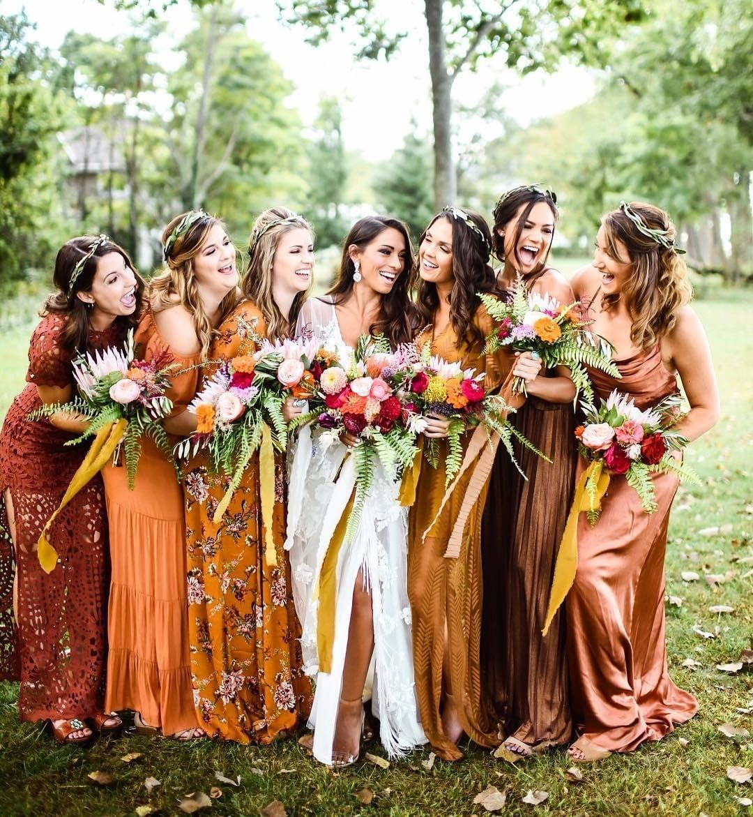 Onefabday On Instagram Rich Colours And Big Smiles Bronze Rust Fall Bridesmaids Fall Bridesmaid Dress Colors Fall Wedding Color Schemes