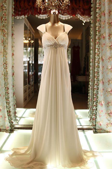 Chloe - Empire Style Maternity Bridal Dress Wedding Gown Marriage Matrimony Wedlock $340 via @Shopseen