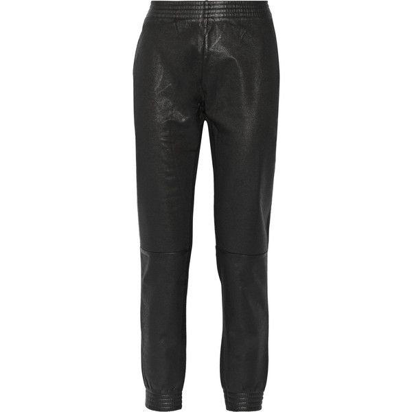 MM6 Maison Margiela Coated cotton-blend jersey sweatpants ($118) ❤ liked on Polyvore featuring activewear, activewear pants, black, black sweat pants, sweat pants, tapered sweatpants, black sweatpants and mm6 maison margiela