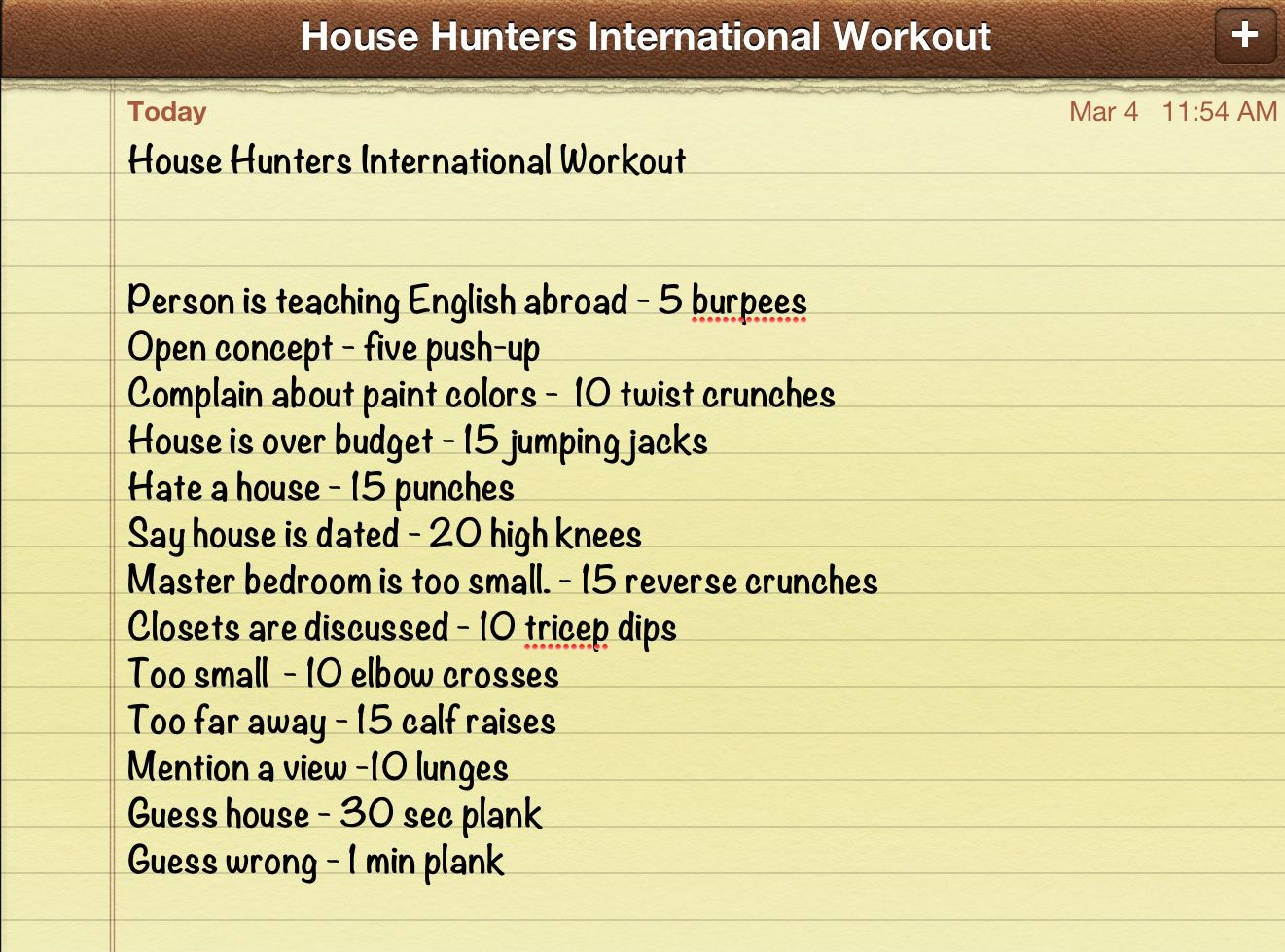 house hunters international workout. kinda like a drinking game