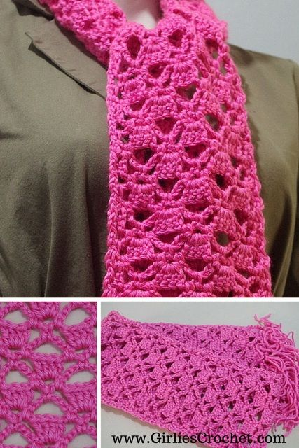 Free Crochet Pattern: Lacy Scarf, with photo tutorial in each step ...