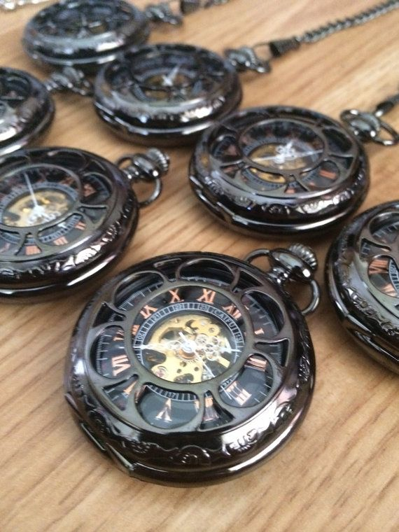 Personalized Wedding Pocket Watches For Groomsmen Set Of 6 Gunmetal Mechanical Mens Watch With Chains