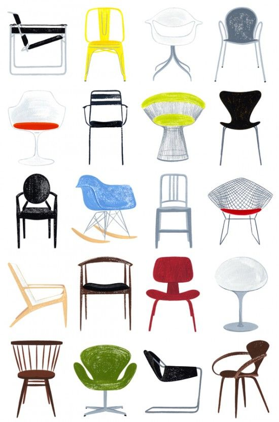 Very Cool Print Of 20 Of The Most Iconic Chairs In Modern History