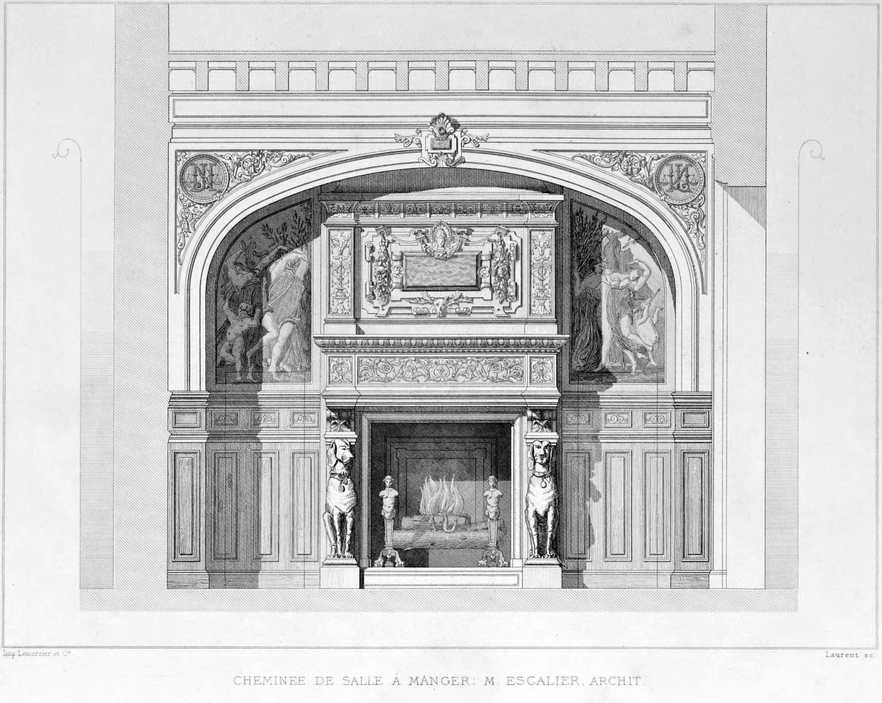 design for a fireplace inside a dining room france arch