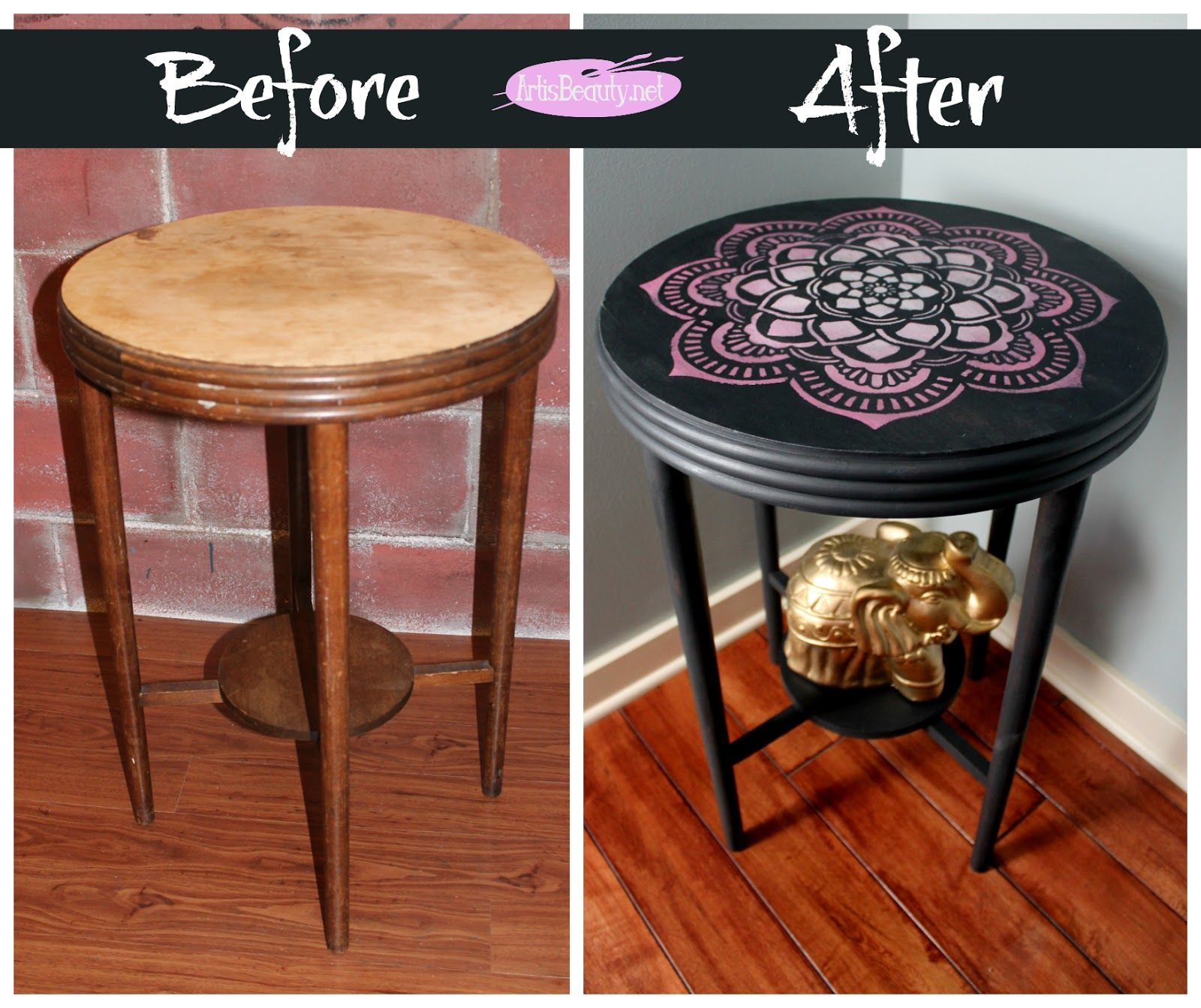 Before and after mandala stencil hand painted round table