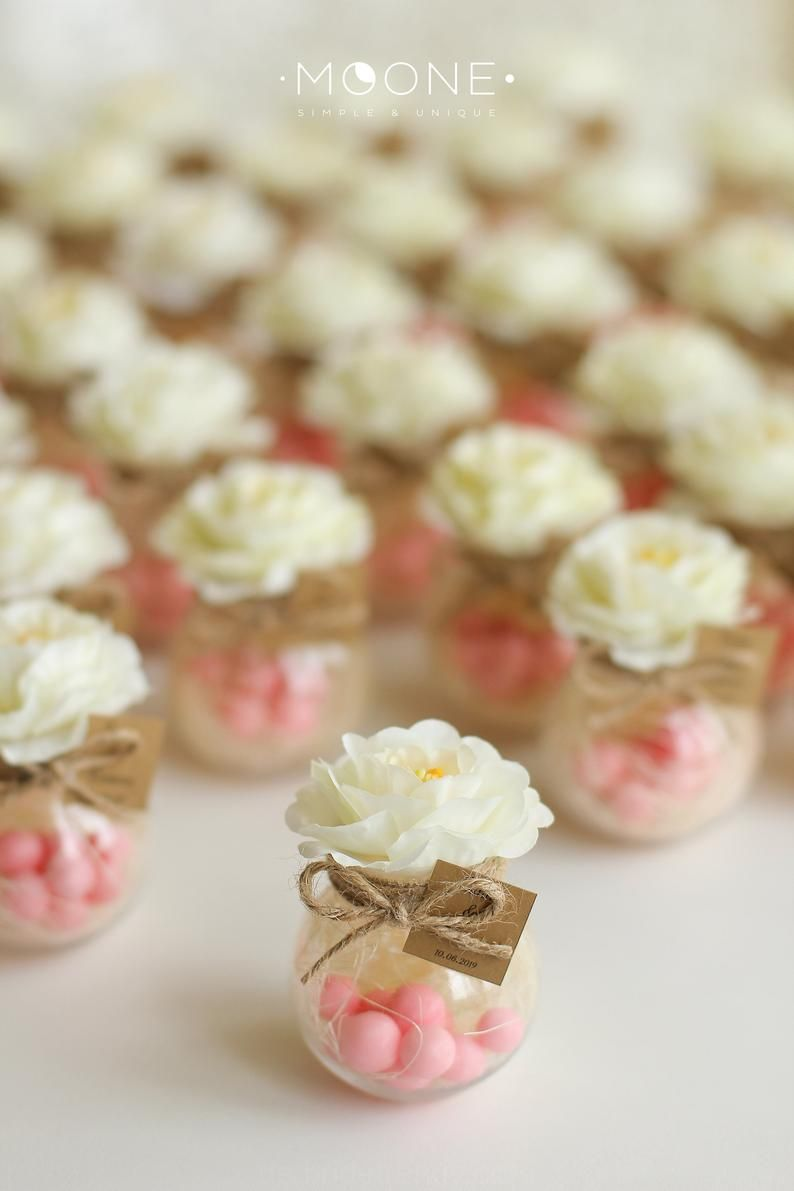 Photo of Set of 10 blush wedding favors, jar with candies and …