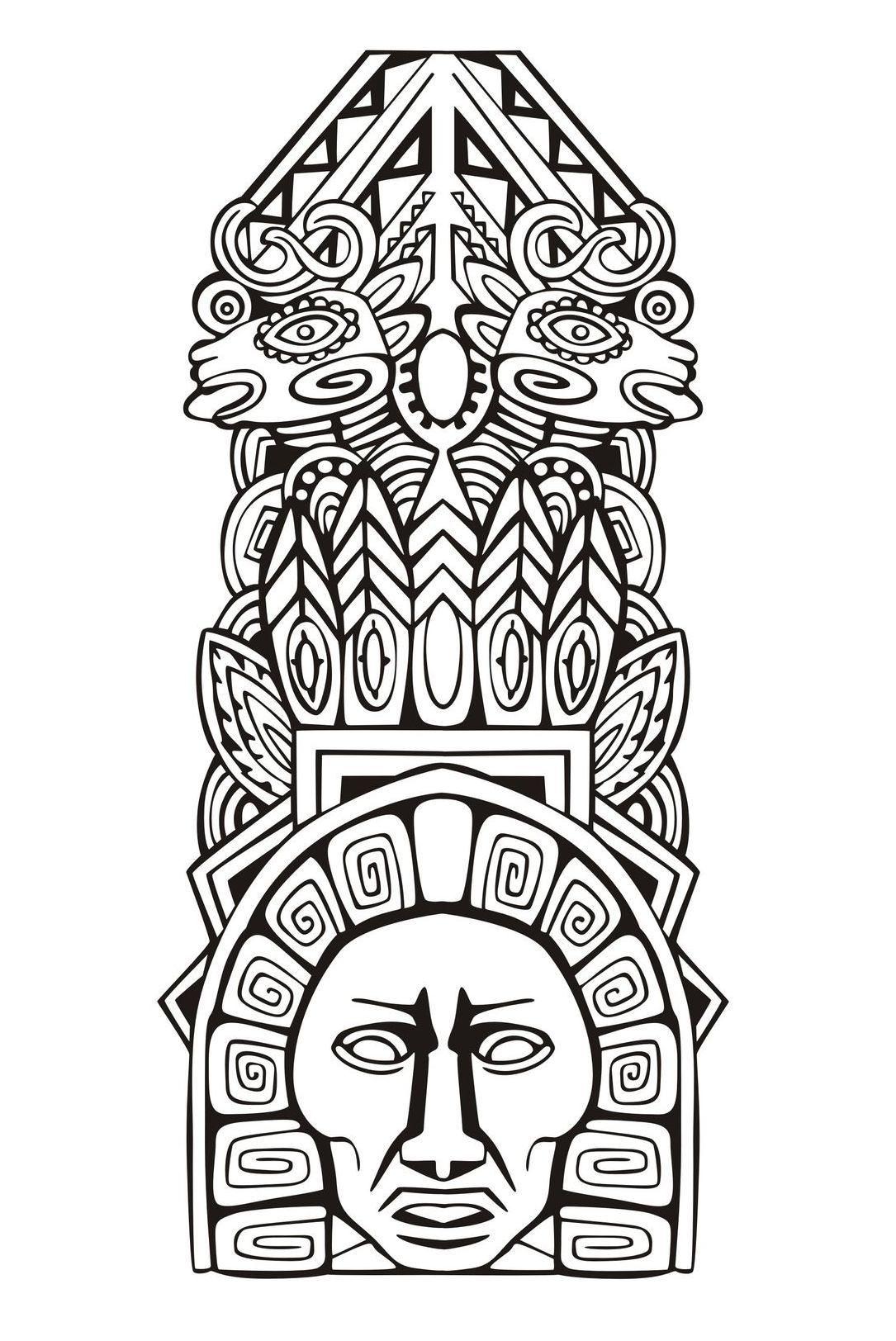 Free Coloring Pages Masks Inca Art Mayan Art Aztec Art