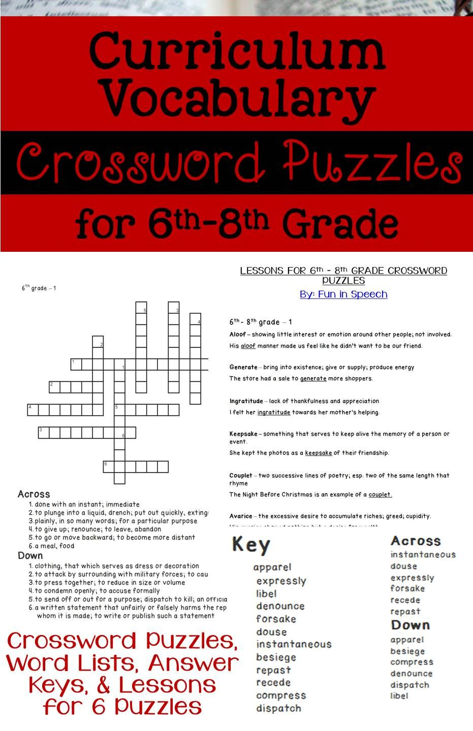 6th-8th Grade Curriculum Vocabulary Crossword Puzzles - Aligned with Common  Core State Standards -