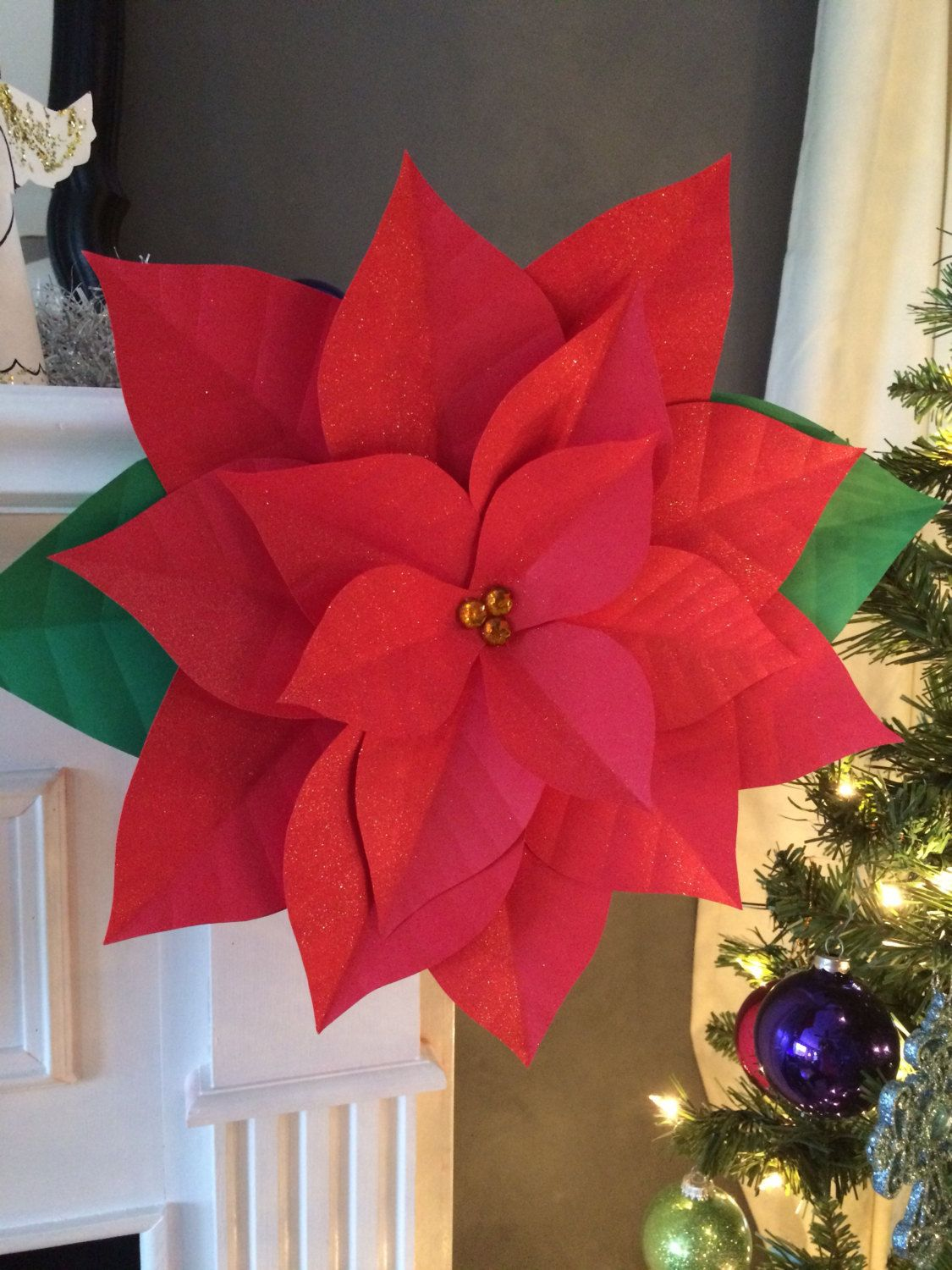 Red Christmas Flower.Set Of 3 Large Medium And Small Paper Poinsettia Christmas