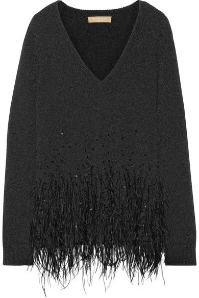 Michael Kors Collection , Feather,trimmed Cashmere Sweater , Charcoal