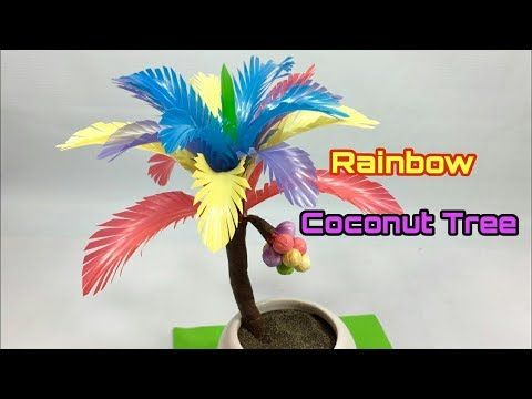 Kerajinan Dari Sedotan Plastik Rainbow Coconut Tree Pohon