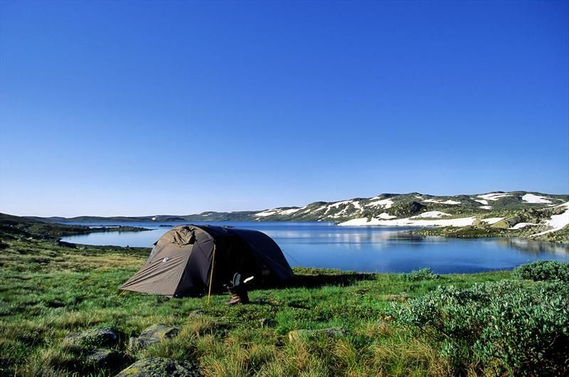 Camping in Hardangervidda National Park, Norway.  Photo by Andres Gjengedal