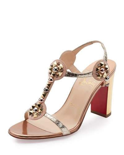 S0HD8 Christian Louboutin Kaleitop Spike T-Strap 85mm Red Sole Sandal,  Version Doudou