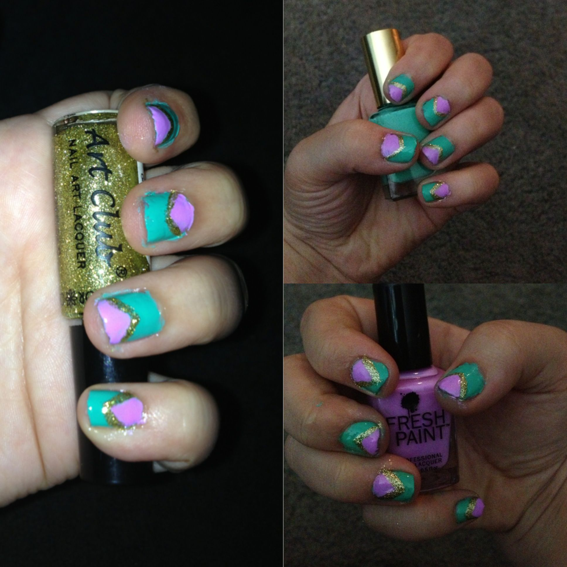 Cool diy nail design with three colors nail art pinterest