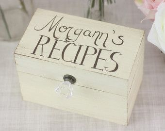 Personalized Recipe Box Rustic Chic Home Decor By Morgann Hill Designs (Item Number MHD20059)