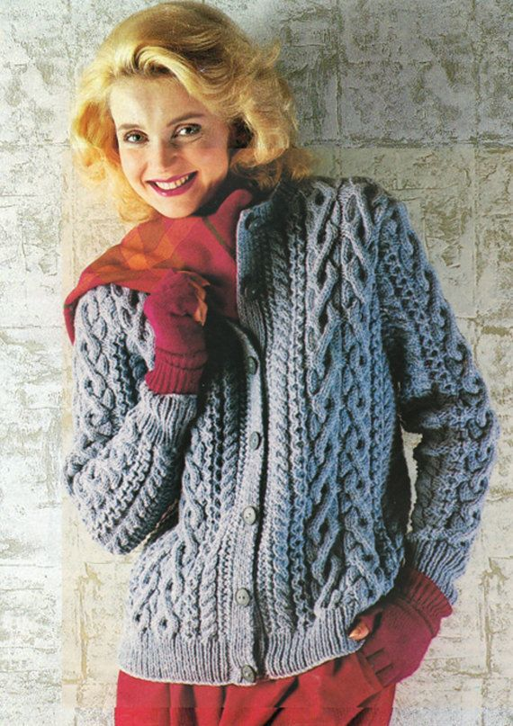 PDF Vintage Pretty Womens Ladies BLUE Knitting Pattern, ARAN Jacket ...