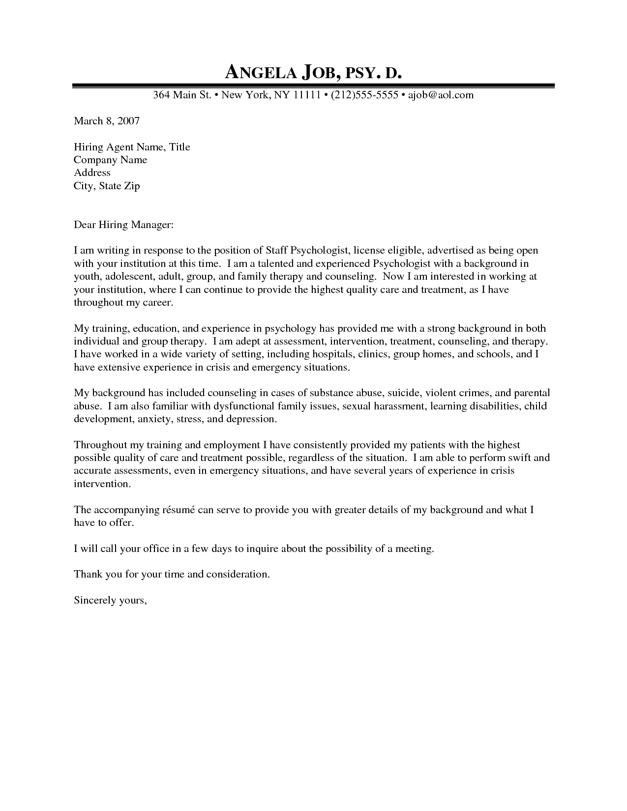 Professional Counseling Cover Letter | Psychologist Cover Letter Example