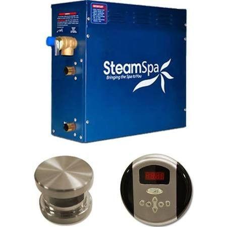 SteamSpa OA900BN Oasis 9 KW QuickStart Steam Bath Generator Package in Brushed Nickel