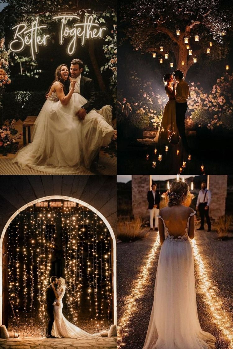 Top 20 Must-have Night Wedding Photos with Lights 1